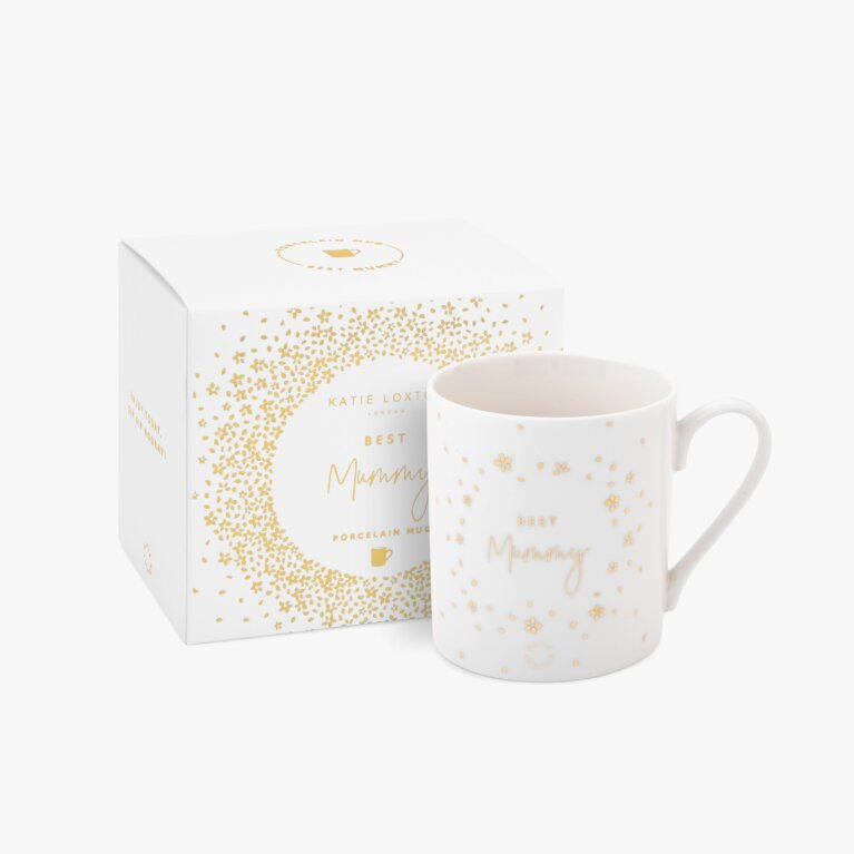 Boxed Porcelain Mug Best Mummy In White And Gold