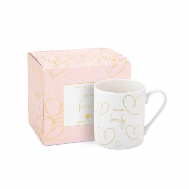 Boxed Porcelain Mug | Hello Lovely | White and Gold