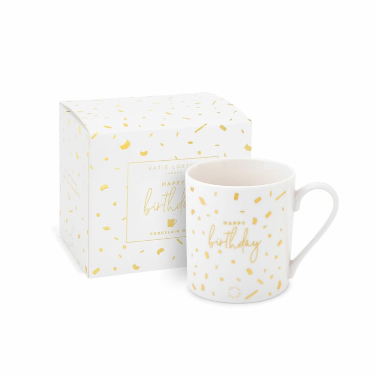 Boxed Porcelain Mug | Happy Birthday | White and Gold