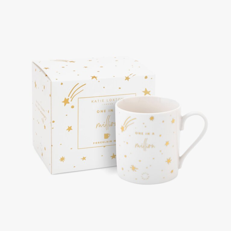 Boxed Porcelain Mug One In A Million In White And Gold