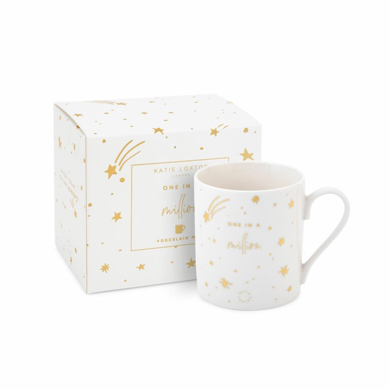 Boxed Porcelain Mug | One In A Million | White and Gold