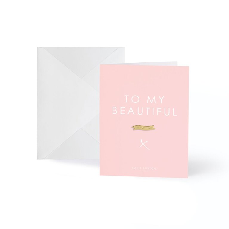 Gold Badge Greeting Card | To my Beautiful Maid of Honor | Pale Pink