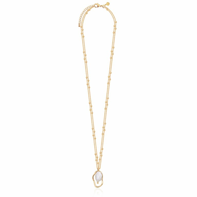 Isla Gold Pearl Long Double Chain Necklace