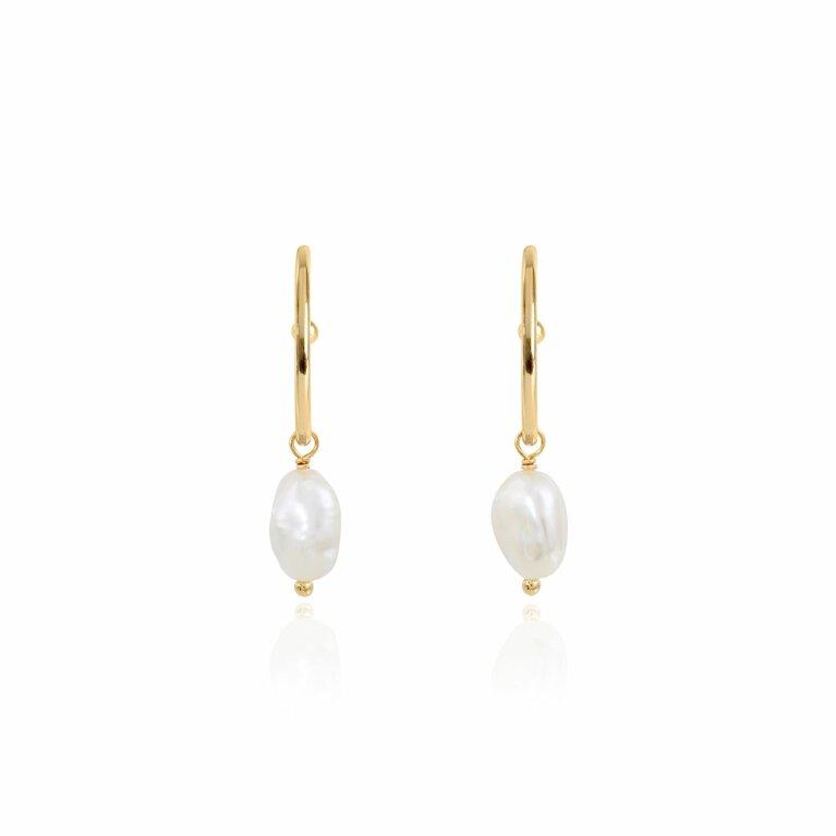 Isla   Gold   Pearl Hoop Earrings