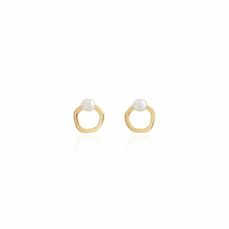 Isla | Gold | Pearl Hoop Stud Earrings