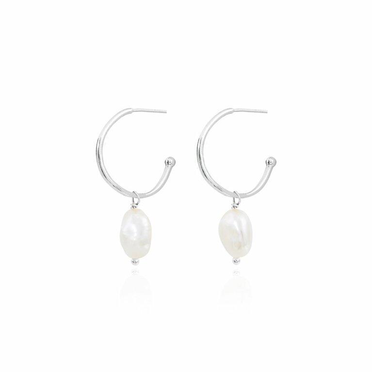 Isla Silver Pearl Hoop Earrings
