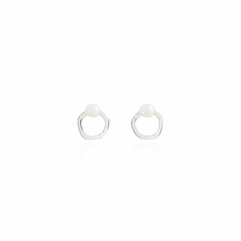 Isla Gold Pearl Hoop Stud Earrings