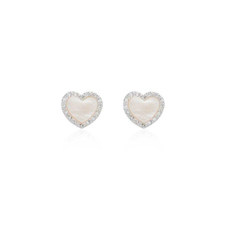 Pearlina Mother of Pearl Heart Stud Earrings