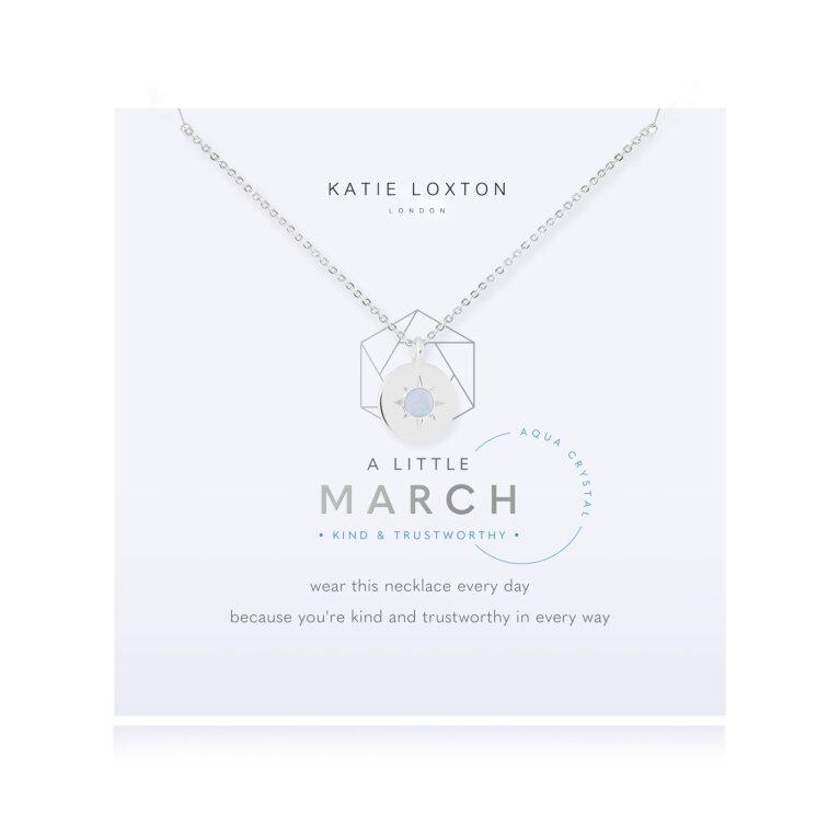 Birthstone a little Necklace March Aqua Crystal
