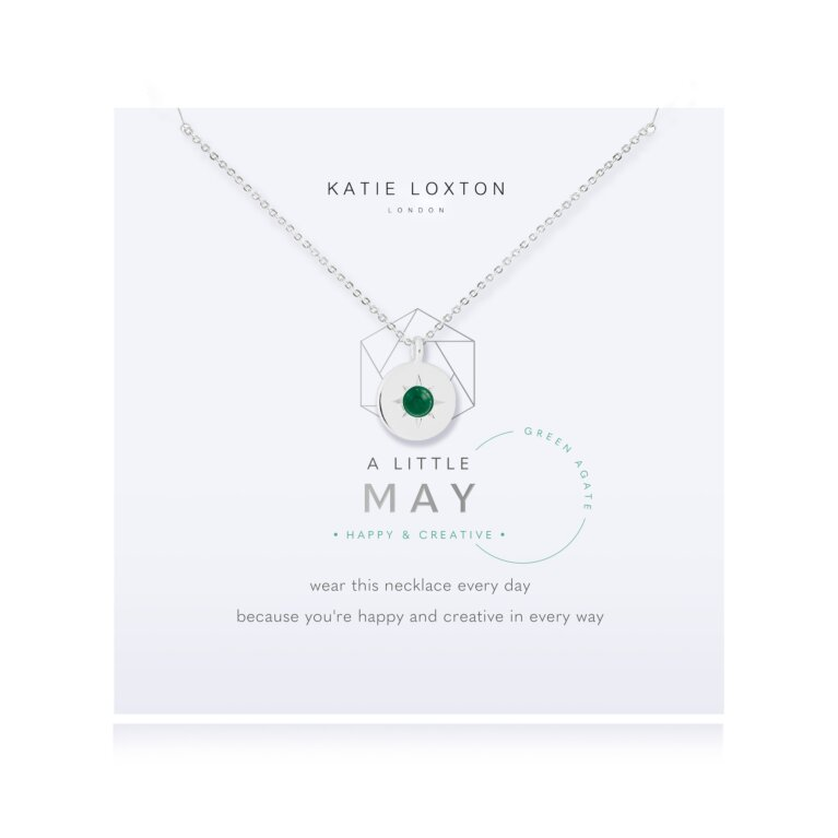Birthstone a little Necklace May Green Agate