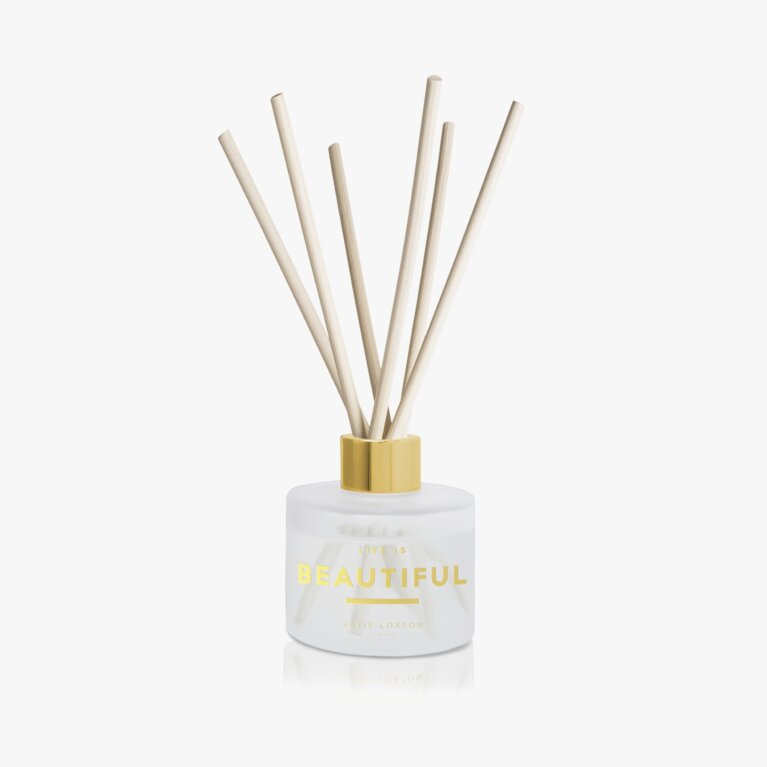 Sentiment Reed Diffuser | Life Is Beautiful | Grapefruit and Pink Peony