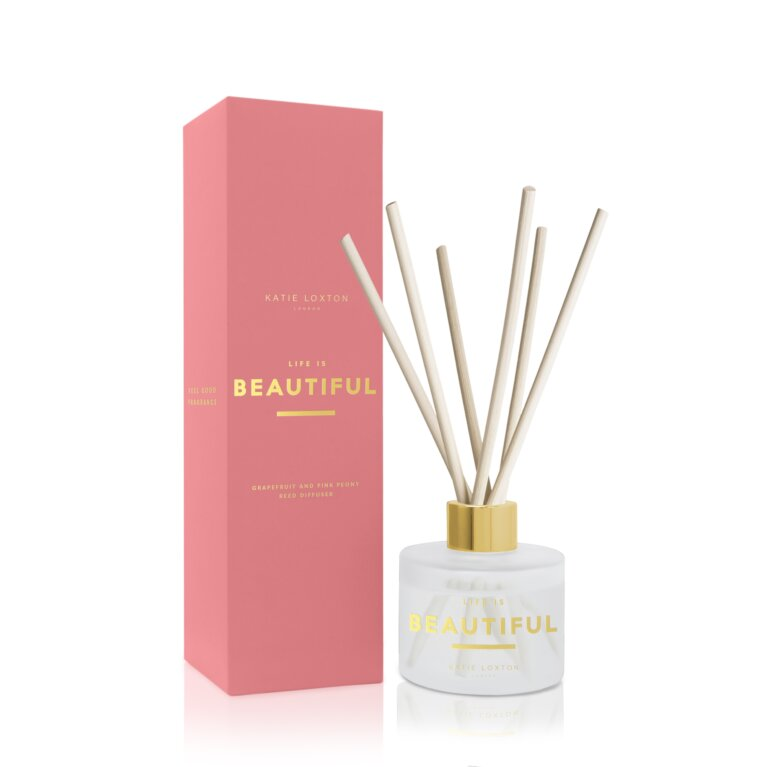 Sentiment Reed Diffuser Life Is Beautiful Grapefruit And Pink Peony