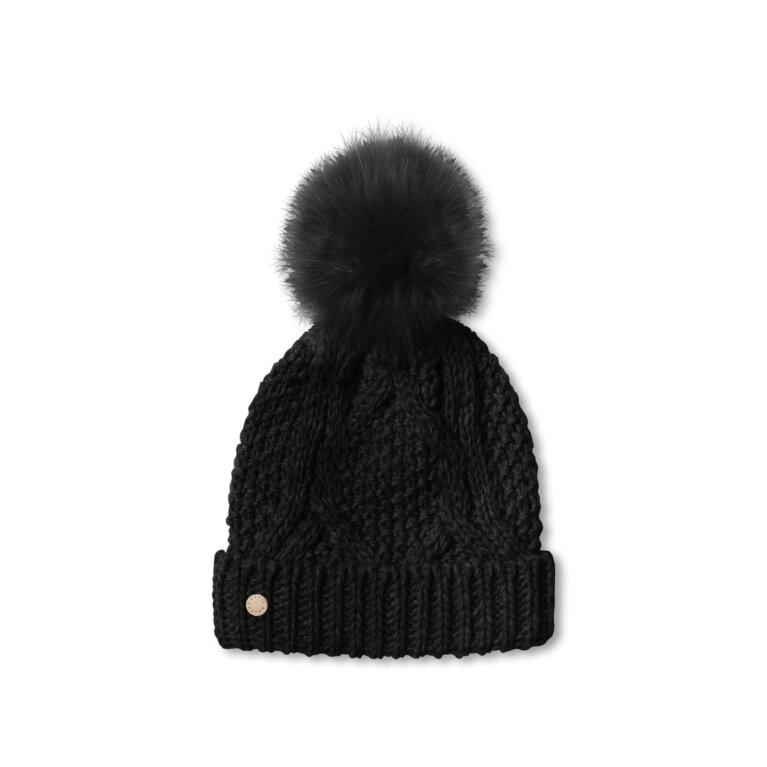 Cable Knit Bobble Hat | Black