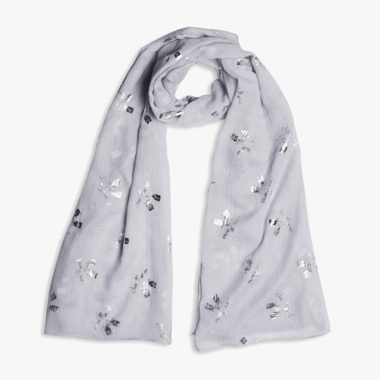 Sentiment Scarf Happy Ever After In Pale Grey