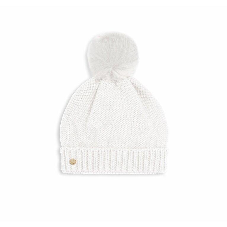 Faux Fur Bobble Hat | White