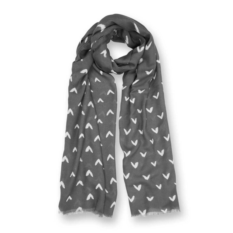 Printed Scarf | Small Heart Print | Charcoal Grey and White