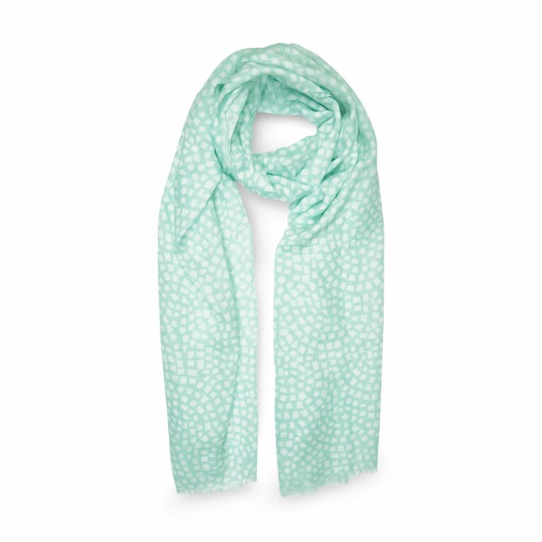 Printed Scarf | Mosaic Print | Mint Green and White