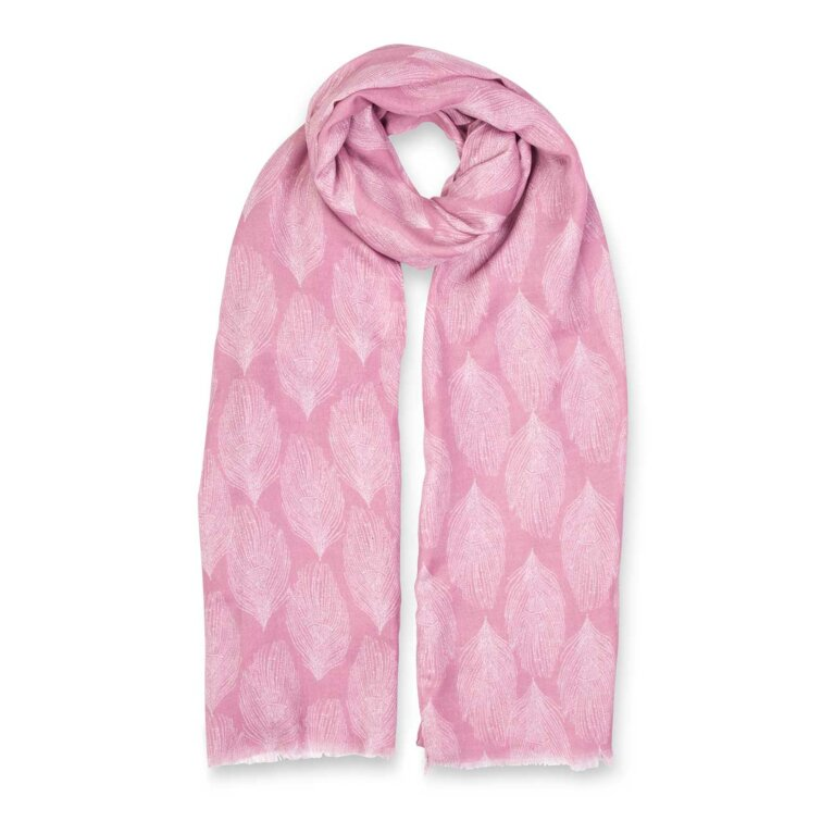 Printed Scarf | Peacock Feather Print | Dusty Pink and White