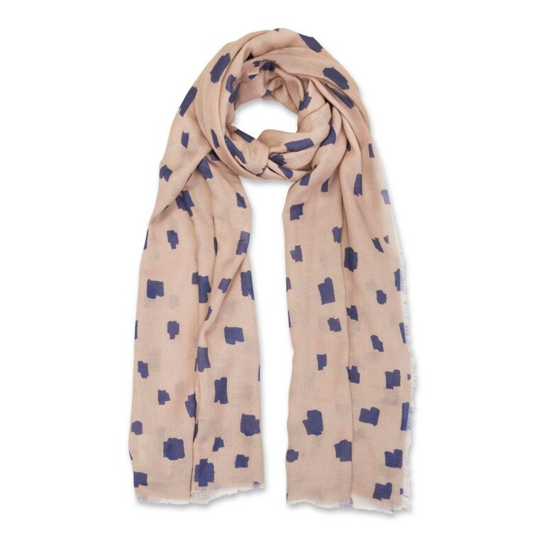 Printed Scarf | Abstract Block Print | Navy