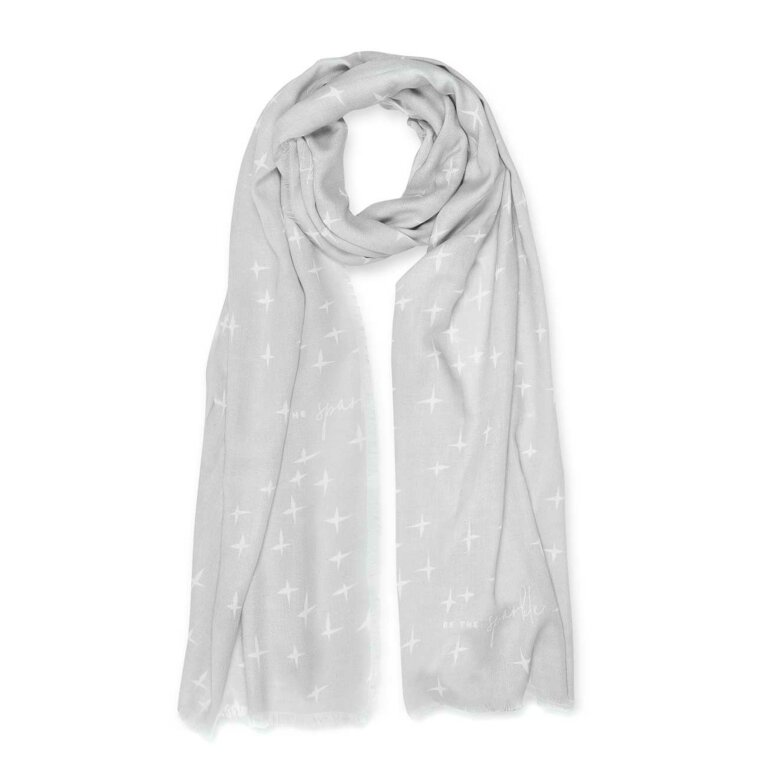 Sentiment Scarf | Be The Sparkle | White and Pale Grey