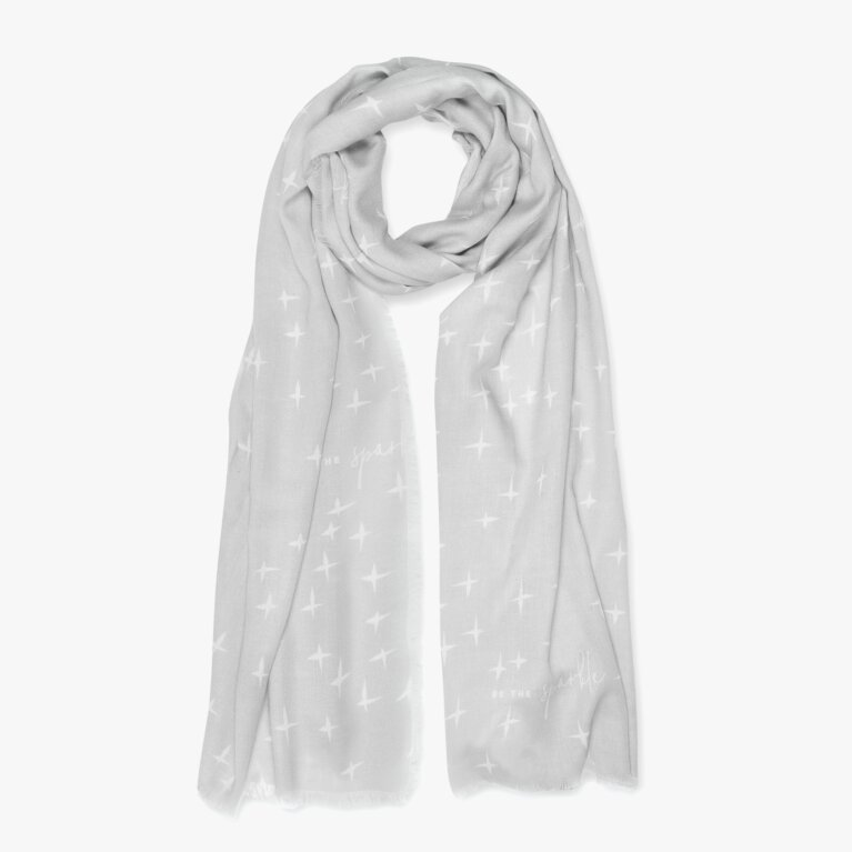 Sentiment Scarf Be The Sparkle In White And Pale Grey