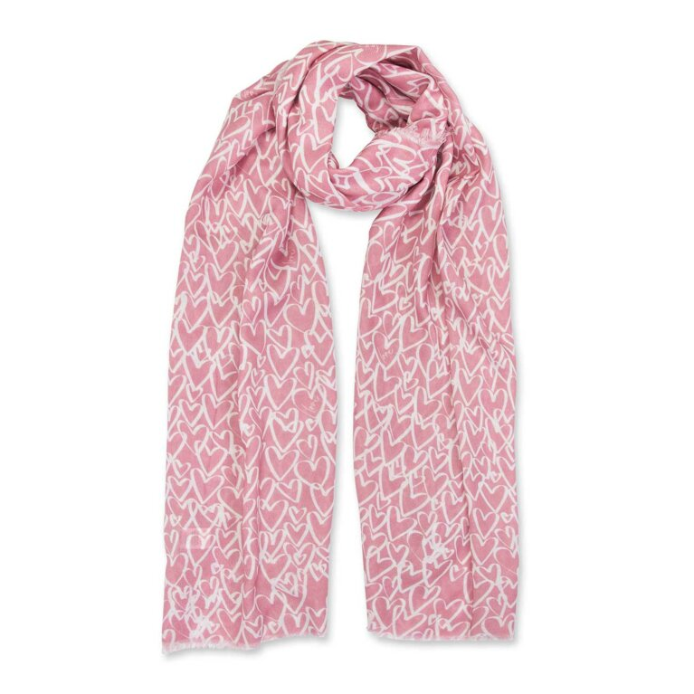 Sentiment Scarf | Love Love Love | White and Dusty Pink