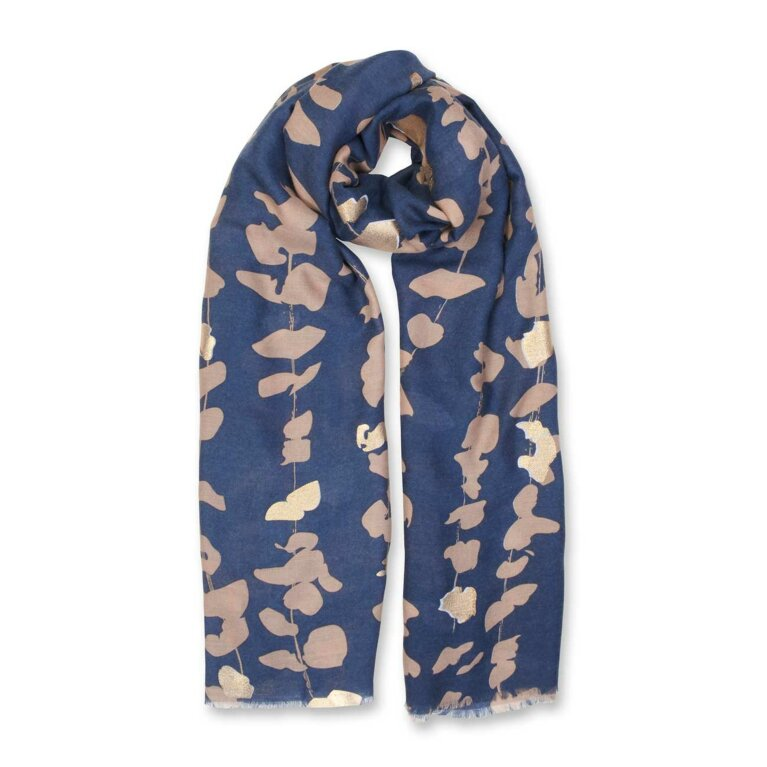 Metallic Scarf | Floral Vines Print | Navy