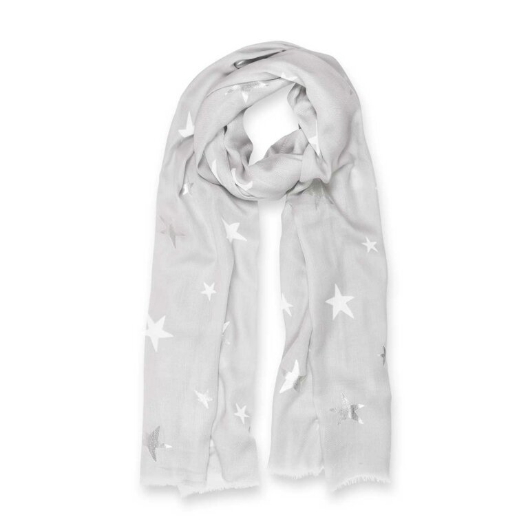 Metallic Scarf | Star Print | Pale Grey