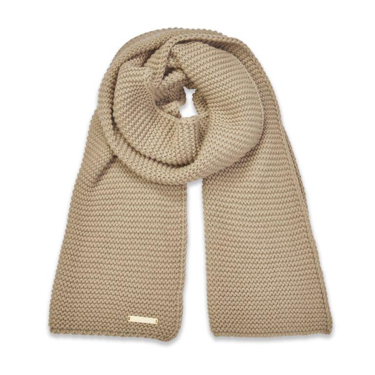 Chunky Knit Scarf In Caramel