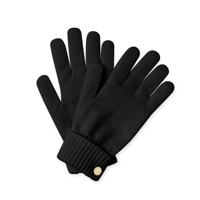 Chunky Knit Gloves | Black
