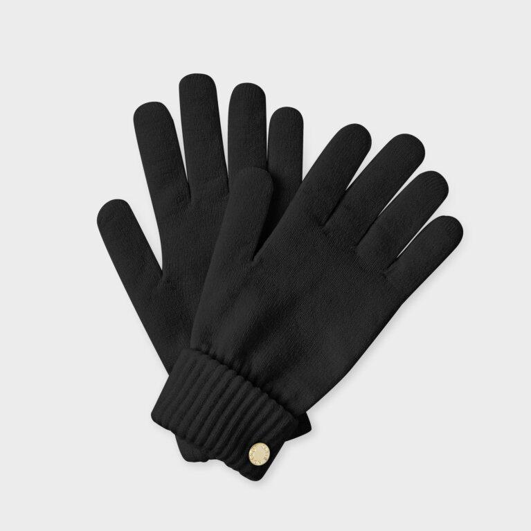Chunky Knit Gloves In Black