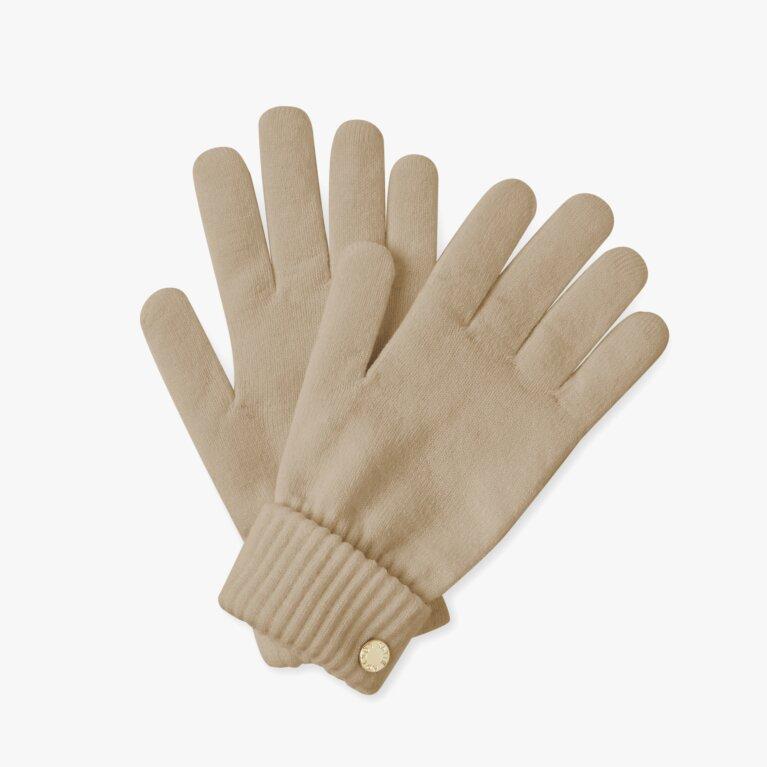 Chunky Knit Gloves In Caramel