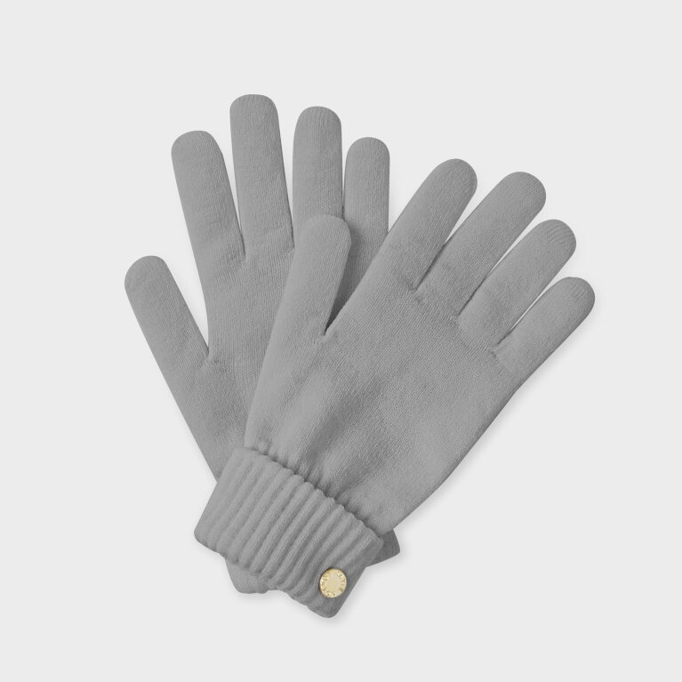 Chunky Knit Gloves In Grey