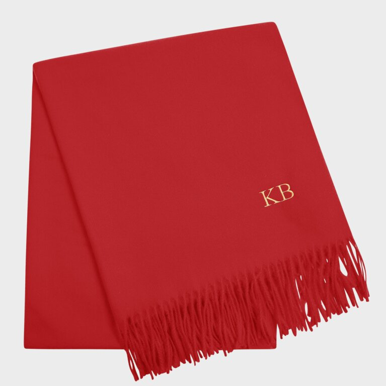 Thick Plain Scarf In Red