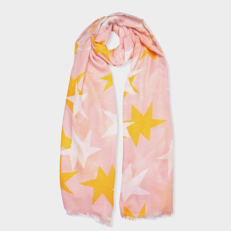 Printed Scarf Large Star Print In Blush Pink