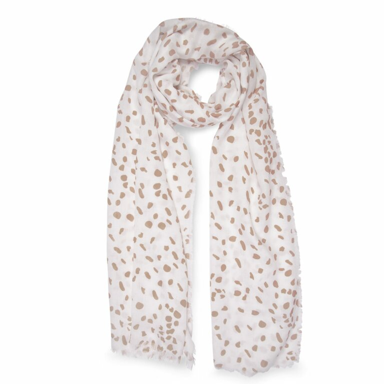 Printed Scarf | Leopard Print | White and Taupe