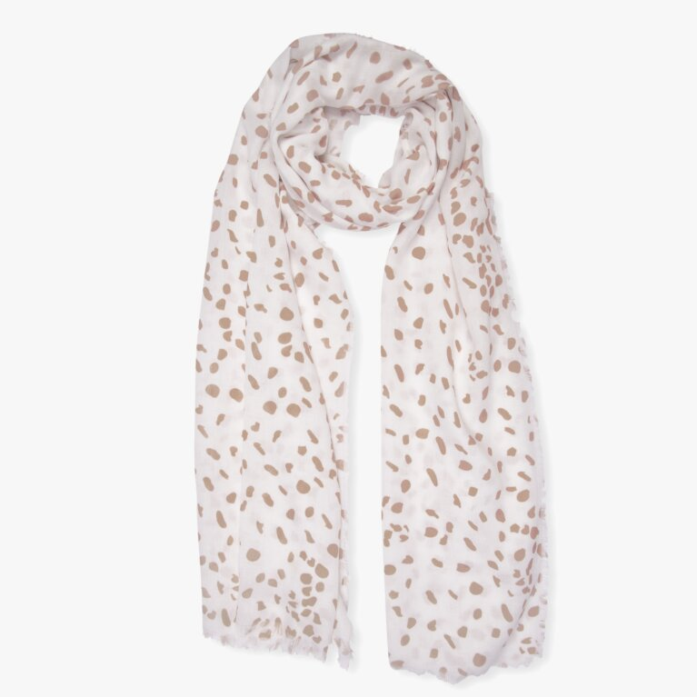 Printed Scarf Leopard Print In White And Taupe