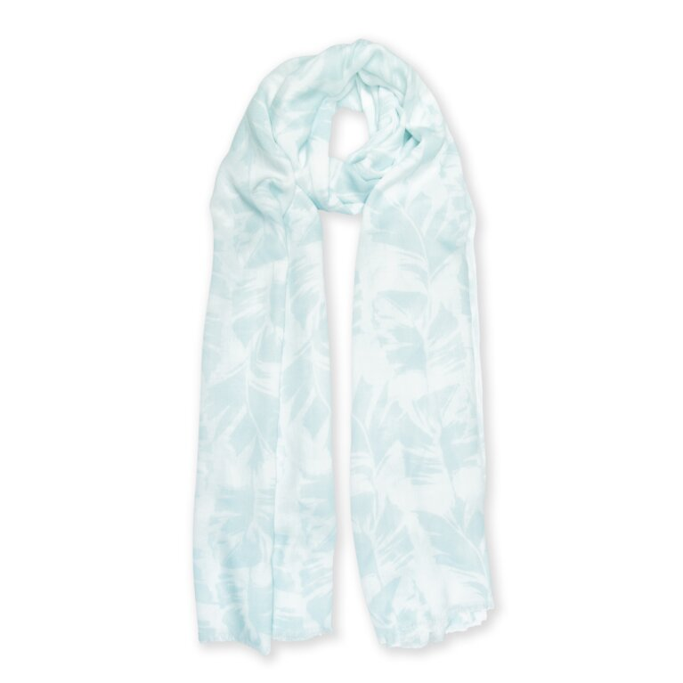 Printed Scarf Palm Leaf Print In White And Green