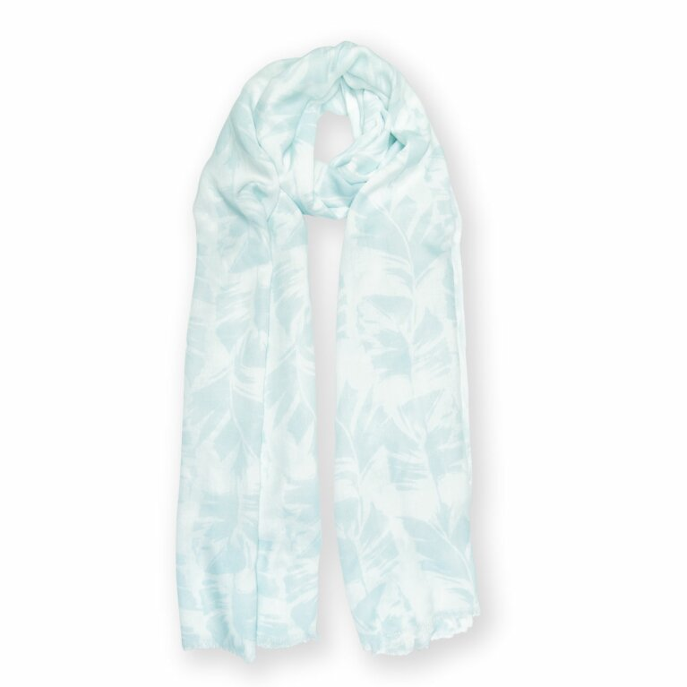 Printed Scarf | Palm Leaf Print | White and Green