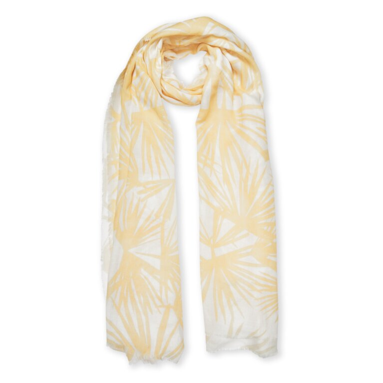Printed Scarf Tropical Leaf Print In White And Yellow
