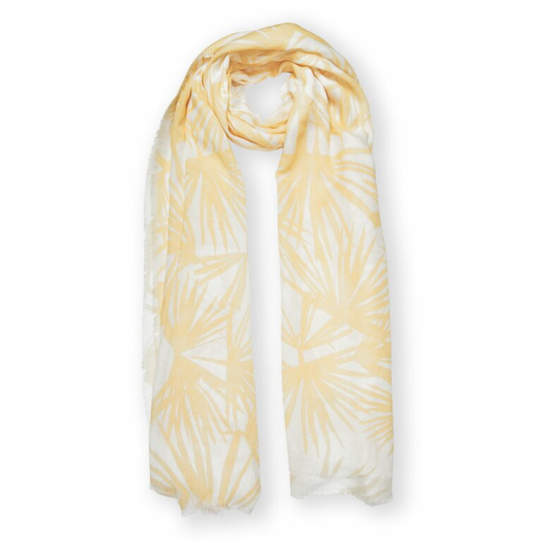 Printed Scarf | Tropical Leaf Print | White and Yellow