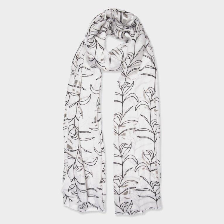 Metallic Scarf Flower Print In White