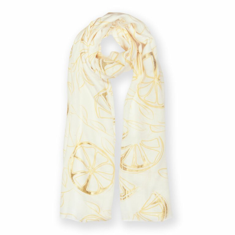 Metallic Scarf | Lemon Print | Yellow