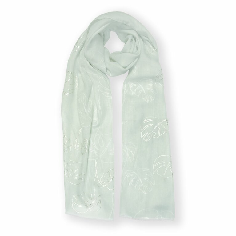 Metallic Scarf | Cheese Plant Print | Sage Green