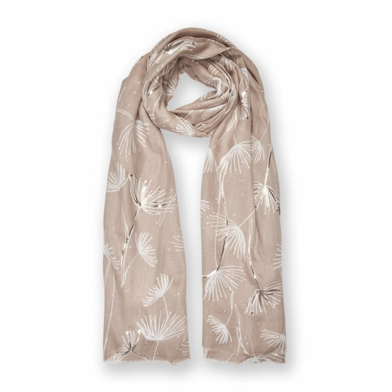 Metallic Scarf | Dandelion Print | Natural