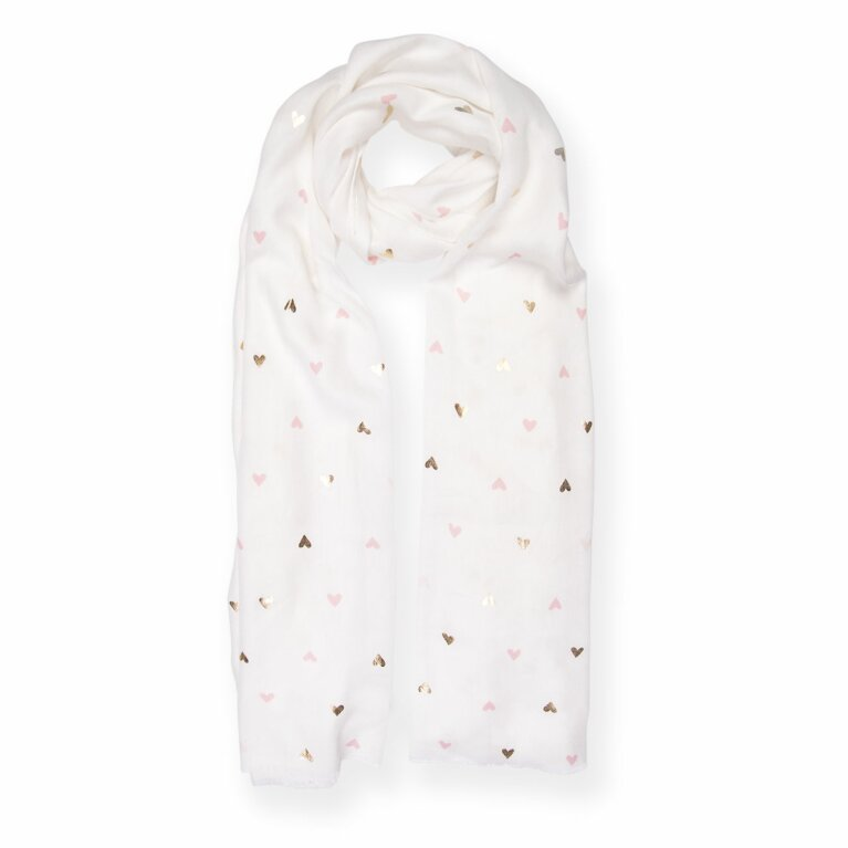 Metallic Scarf | Small Heart Print | White