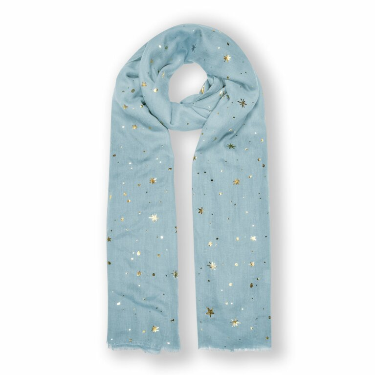 Metallic Scarf | Star Print | Blue