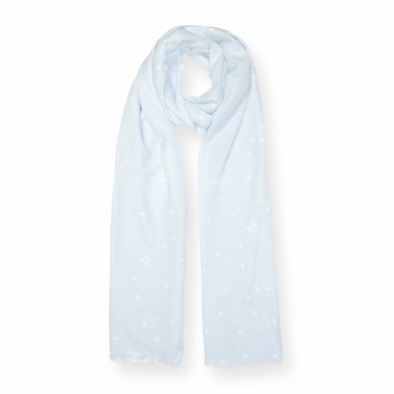 Printed Scarf | Petal Print | Blue and White