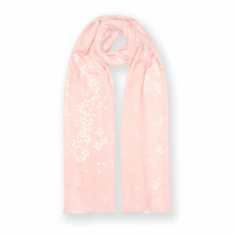 Printed Scarf | Petal Print | Blush Pink and White
