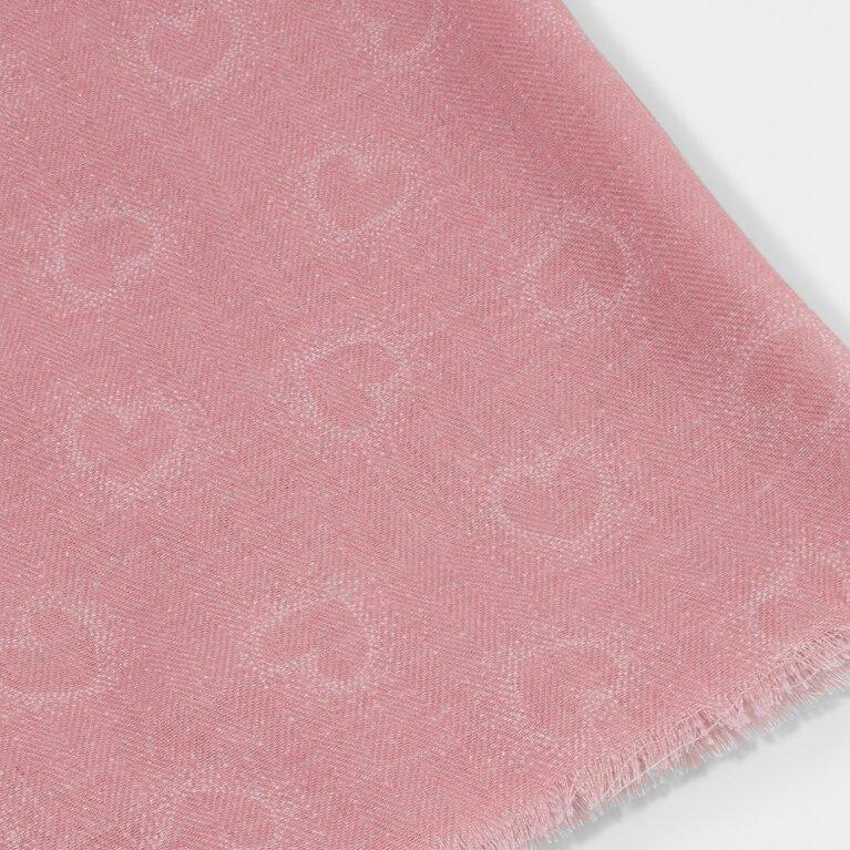 Printed Scarf Heart Print in Pink